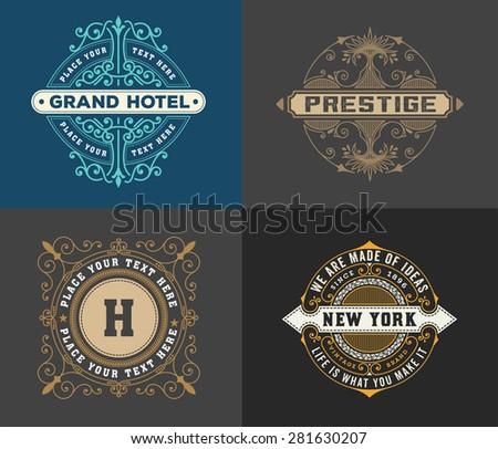 vintage logo template, Hotel, Restaurant, Business or Boutique Identity. Design with Flourishes Elegant Design Elements. Royalty, Heraldic style .Vector Illustration  - stock vector