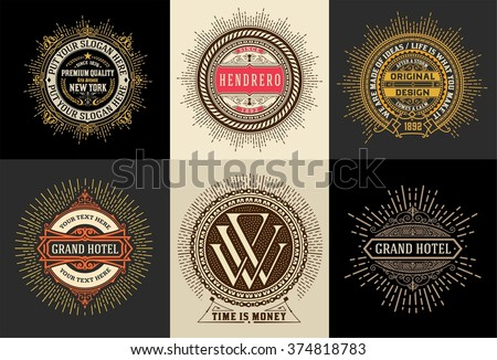 Vintage logo template, Hotel, Restaurant, Business or Boutique Identity. Design with Flourishes Elegant Design Elements.Vector - stock vector
