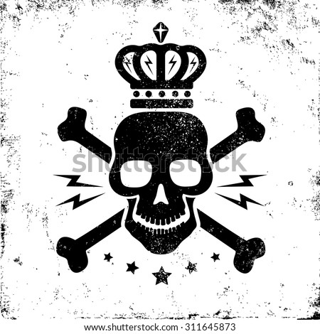 Vintage logo with black skull and crown - stock vector