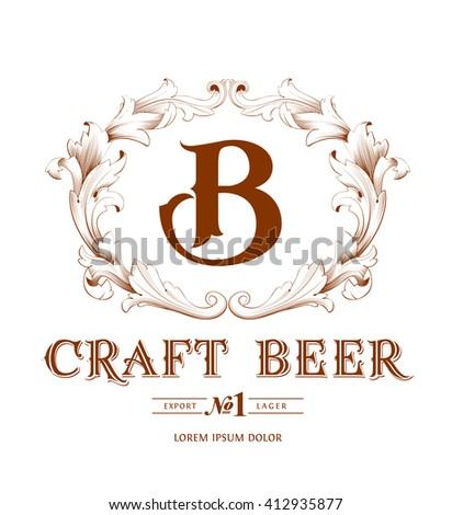 Vintage logo with monogram - stock vector