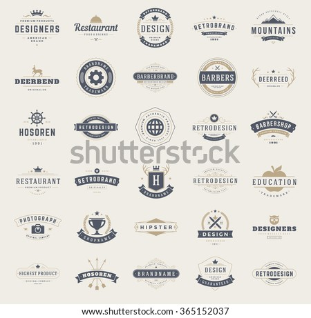 Vintage Logos Design Templates Set. Vector design elements, Logo Elements, Logo symbols, Logo Icons, Logo Vector, Symbols Design, Retro Logos. Deer Logo, Restaurant Logo, Ornament Logo, Crown Logo. - stock vector
