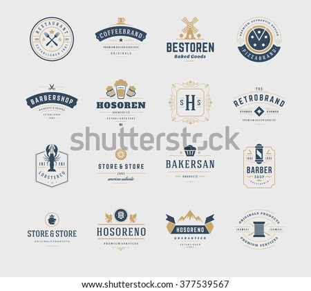 Vintage Logos Design Templates Set. Vector design elements, Logo Elements, Logo symbols, Logo Icons, Logos Vector, Symbols Design, Retro Logos. Beer Logo, Restaurant Logo, Ornament Logo, Bakery Logo. - stock vector