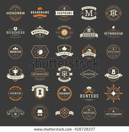 Vintage Logos Design Templates Set. Vector Labels Elements  Retro Badges and Silhouettes. Big Collection 30 Items. - stock vector