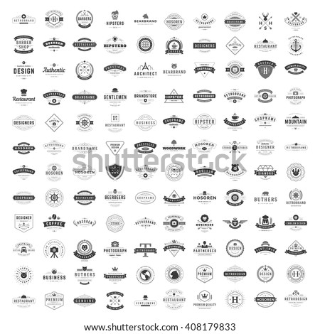 Vintage Logos Design Templates Set. Vector logotypes elements collection, Icons Symbols, Retro Labels, Badges, Silhouettes. Big Collection 120 Items. - stock vector