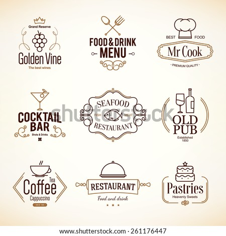 Vintage logotypes and labels design. Logo set for restaurant, cafe and coffee house - stock vector