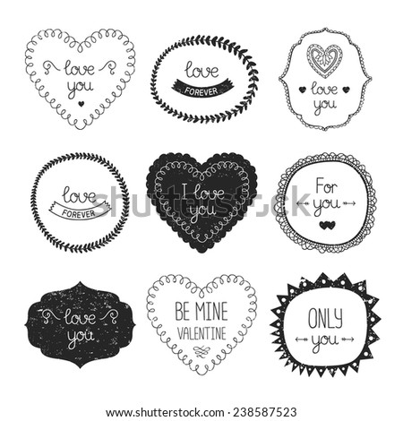 Vintage love labels, frame and decorative elements. Vector valentine collection for design isolated on white background - stock vector
