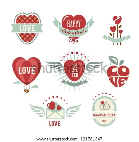 Vintage love set - stock vector