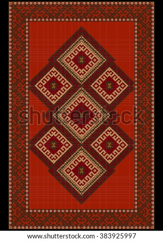 Vintage luxurious  ethnic rug with  red and brown shades  - stock vector