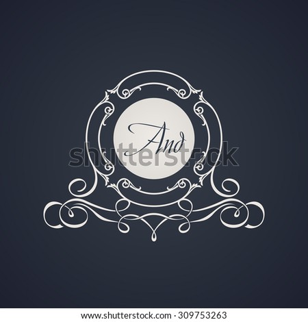 Vintage luxury emblem. Elegant Calligraphic pattern on vector logo. Black and white monogram - stock vector