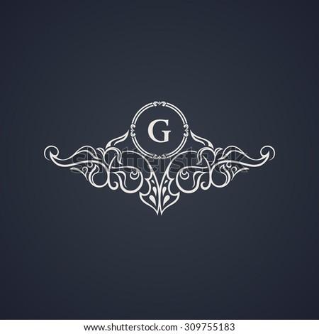 Vintage luxury emblem. Elegant Calligraphic pattern on vector logo. Black and white monogram G - stock vector