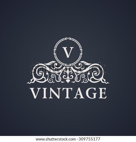 Vintage luxury emblem. Elegant Calligraphic pattern on vector logo. Black and white monogram V - stock vector