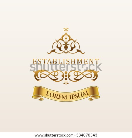 Vintage luxury gold emblem. Elegant Calligraphic decor on vector logo with ribbon - stock vector