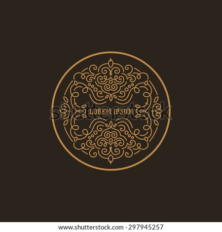 Vintage Luxury Logo design circle shape template flourish calligraphic elegant.  Business logotype emblem, identity for Boutique ,Restaurant, Heraldic, Jewelry, Fashion illustration lineart style. - stock vector
