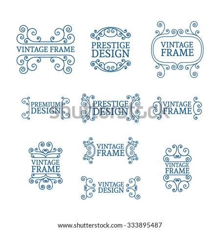 Vintage luxury logo template set with flourishes elegant lines. A set of signs, badges, frame, border, emblems with swirls. Vector. - stock vector