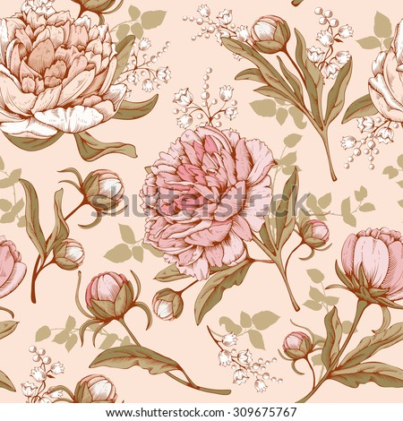 Vintage luxury seamless pattern with detailed hand drawn flowers - blooming peony. Vector. Easy to edit. - stock vector