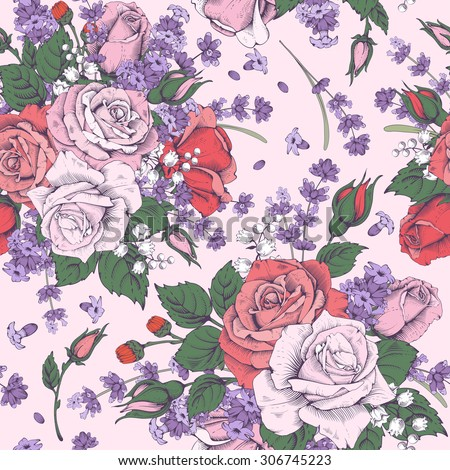 Vintage luxury seamless pattern with detailed hand drawn flowers - blooming rose and lavender. Engraving style. Vector. Easy to edit. - stock vector