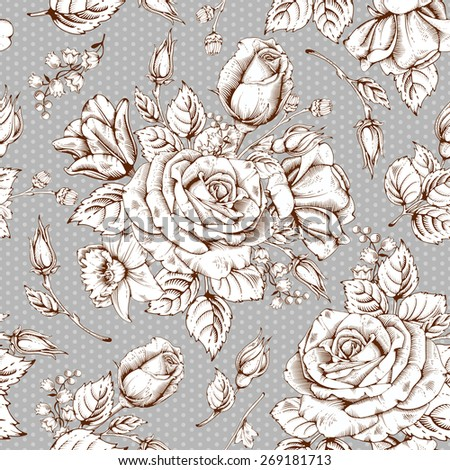 Vintage luxury seamless pattern with detailed hand drawn flowers - blooming rose. Vector. Easy to edit. - stock vector