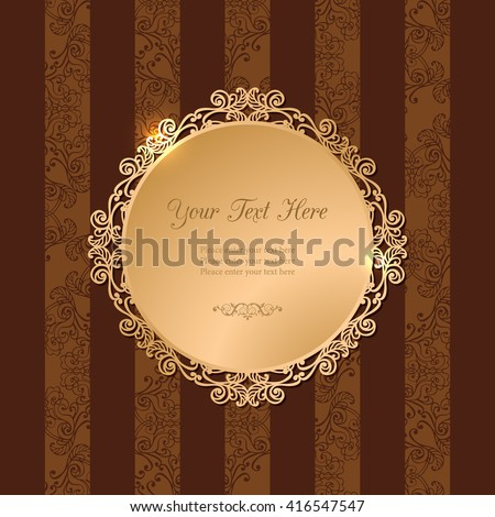 Vintage luxury vector background. Golden decorated filigree frame on brown background of stripes and floral pattern. Template for your design. EPS 10 - stock vector
