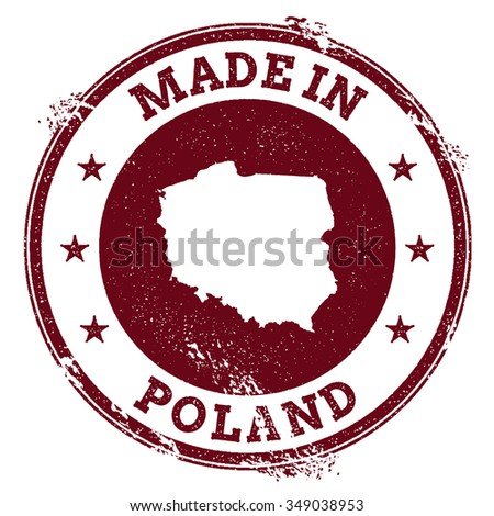 Vintage Made in Poland stamp. Grunge rubber stamp with Made in Poland text and country map, vector illustration - stock vector