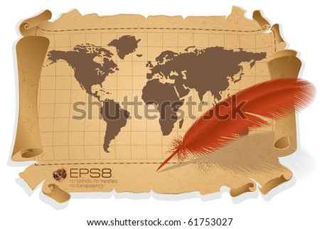 Vintage map and pen. Vector. - stock vector