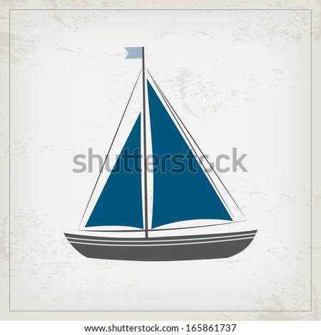 Vintage marine card with sailboat - stock vector