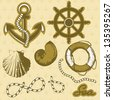 Vintage marine elements set. Includes anchor, rope, wheel, and shells. - stock vector