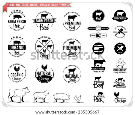 Vintage meat logos, badges, labels and design elements - stock vector