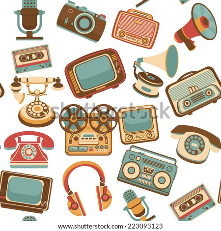 Vintage media gadgets colored seamless pattern with vintage electronic devices vector illustration - stock vector