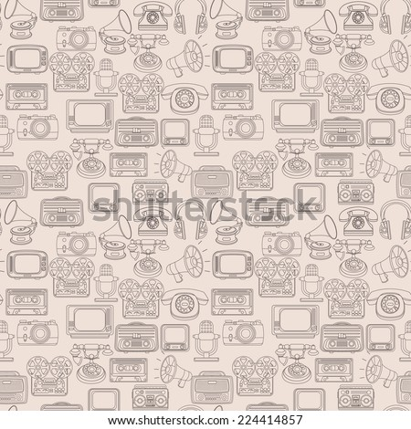 Vintage media gadgets outline seamless pattern with vintage technology devices vector illustration - stock vector
