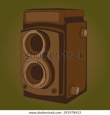 vintage medium format photo camera - stock vector