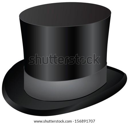 Vintage men's dress - black top hat. Vector illustration. - stock vector
