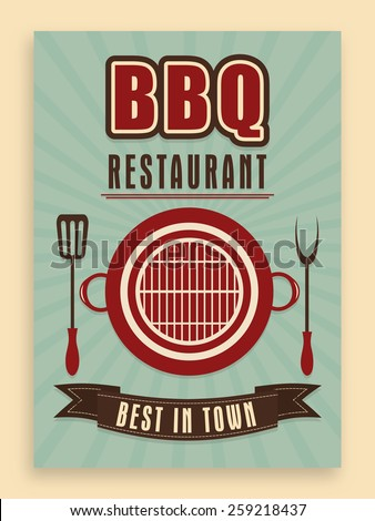 Vintage Menu Card design for restaurant, can be used as template, poster or flyer design. - stock vector