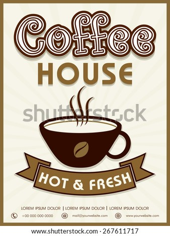 Vintage menu card or flyer design for hot and fresh Coffee. - stock vector