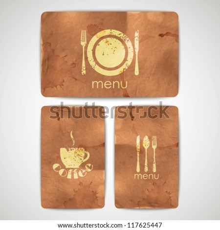 vintage menu labels with grunge cardboard texture - stock vector