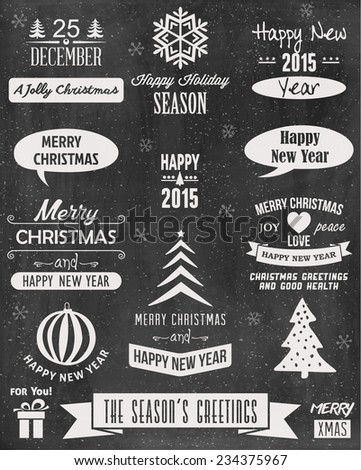 Vintage Merry Christmas And Happy New Year Calligraphic And Typographic Background With Chalk Word Art On Blackboard  - stock vector