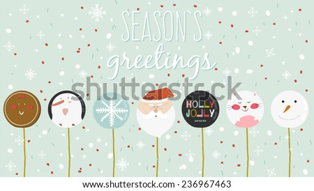 Vintage Merry Christmas And Happy New Year Calligraphic And Typographic card with greeting candy on a stick. Penguin, Santa, snowflake, gingerbread. Illustration of winter elements. - stock vector