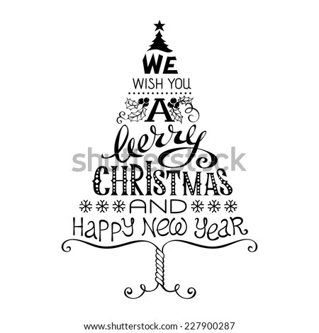 Vintage Merry Christmas and Happy New Year. Calligraphic and typographic hand-written elements. - stock vector