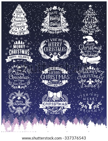 Vintage Merry Christmas And Happy New Year chalk Calligraphic And Typographic labels On Blackboard. Decorations elements, Symbols, Icons, Frames, Ornaments and Ribbons, set. Happy Winter Holidays - stock vector