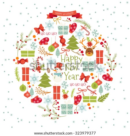 Vintage Merry Christmas And Happy New Year Set of Wreathes with Calligraphic And Typographic Wishes and Winter Holiday Elements. Greeting hand drawn illustration for Xmas. - stock vector