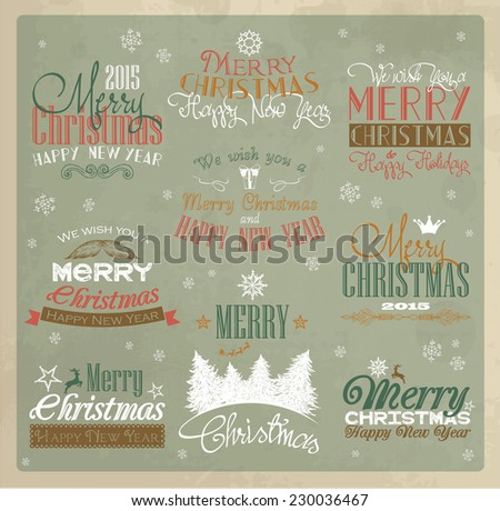 Vintage Merry Christmas labels - stock vector