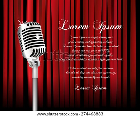 Vintage metal microphone against red curtain backdrop. mic on empty theatre stage, vector art image illustration. stand up comedian night show or karaoke party background with text space. retro design - stock vector