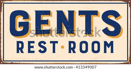 Vintage metal sign - Gents Rest Room - Vector EPS10. Grunge and rusty effects can be easily removed for a cleaner look. - stock vector