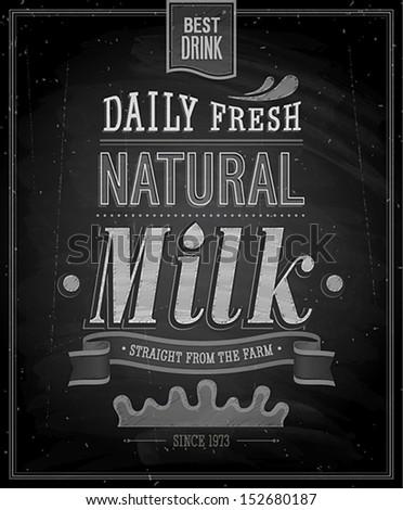 Vintage Milk poster - Chalkboard. Vector illustration. - stock vector