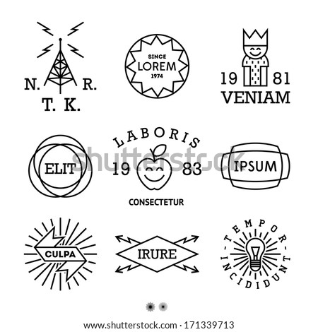 vintage minimal labels with king, shield - stock vector
