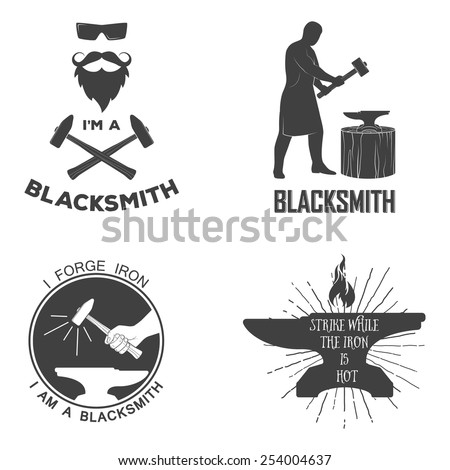 Vintage monochrome blacksmith badges and design elements. For example, it can be printed on t-shirts. Vector illustration.  - stock vector