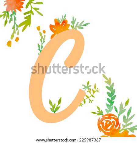 Vintage monogram C with watercolor flowers and leaves. Part of natural romantic alphabet.  - stock vector