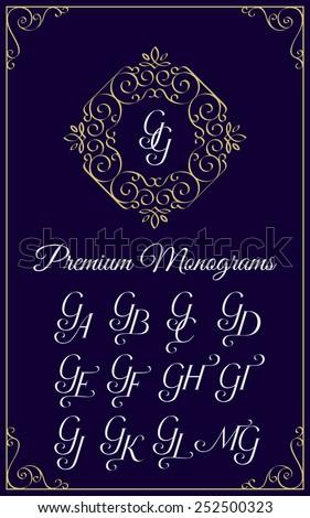 Vintage monogram design template with combinations of capital letters GA GB GC GD GE GF GG GH GI GJ GK GL GM. Vector illustration. - stock vector