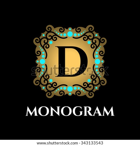 Vintage monogram frame template - stock vector