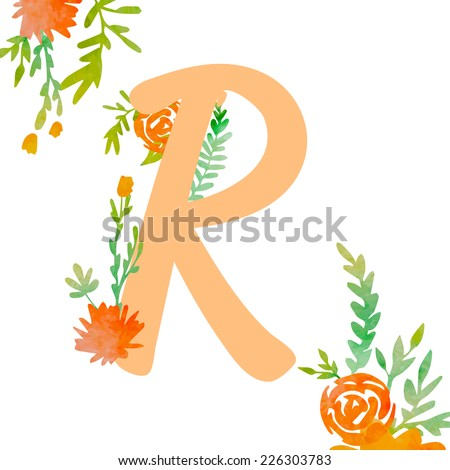 Vintage monogram R with decorative watercolor floral elements, roses and natural frame. Hand drawn vector alphabet part.  - stock vector
