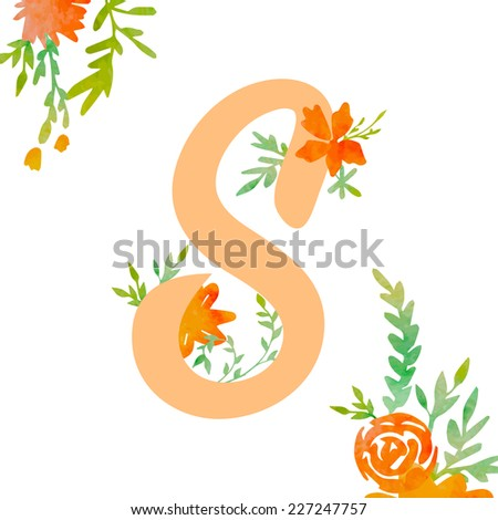 Vintage monogram S with decorative watercolor floral elements, roses and natural frame. Hand drawn vector alphabet part.  - stock vector